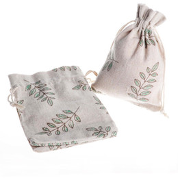 organic leaf Coupons - Green Leaves Printed 50pcs 10X14CM 100% Natural Organic Muslin Cotton Drawstring Bag Wedding Candy Gift Cotton Drawstring Bags