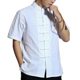 2019 camisas azules de china Nuevo Camisa de lino tradicional china de manga corta para hombres Artes marciales Kungfu Camisa de lino de algodón 4 colores Blanco Negro Beige Azul 2018 camisas azules de china baratos