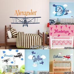 decorazioni per bambini Sconti New Airplane Clouds Stickers murali Personalizzato Nome del bambino Vivaio d'arte Adesivi murali Artistici per ragazzi Camerette per ragazzi Decorazione murale