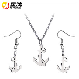 Wholesale African Jewellery Wholesalers - Fashion style wild Women Jewelry Sets stainless steel Anchor necklace earrings two pieces Ladies Evening Party Trendy Jewellery