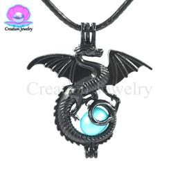 Charms Black Dragon Small Pearl Bead Cage Pendant Locket Fit Bracciale collana gioielli fare spedizione gratuita da