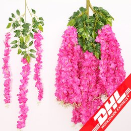 Wholesale Artificial Ivy Wall - 110cm Artificial ivy flowers Silk Flower Wisteria Vine flower Rattan for Wedding Centerpieces Decorations Bouquet Garland