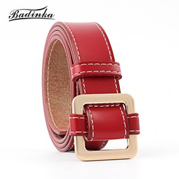 7df3b141be Badinka 2018 New Designer Wide Black Red Pink White Genuine Leather Belt  Waist Female Gold Buckle Belts for Women Jeans Dress