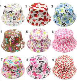 b2f8c1358ae flowers Children Sun basin Cap Cherry Love Heart Floral Printed Kids Caps  Spring Summer UV Sun Protective Bucket Hat fisherman Hats C3005