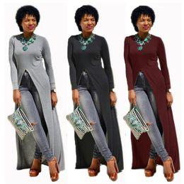 Wholesale Baggy Summer Dresses - Autumn Women Maxi Dresses Casual Solid Kaftan Elegant Split High Baggy Vestidos Long Sleeve Round-neck Shirt Dress 6 Colors LJJO4424
