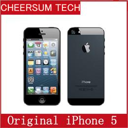 Wholesale iphone os - 2016 unlocked APPLE iPhone 5 Original Cell Phone iOS 8 OS Dual core 1G RAM 16GB 32GB 64GB ROM 4.0 inch 8MP Camera WIFI refurbished cellphone