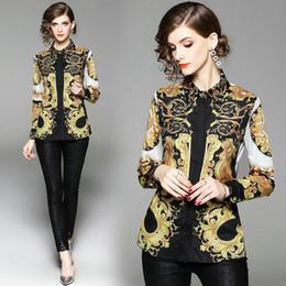 18fc8271534 ladies business shirts blouses 2019 - Lapel Printed Shirt Long Sleeve Women  Tops Fashion Elegant Business