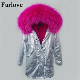 Wholesale womens jackets real fur - 2017 New winter jacket women parka real raccoon fur collar hooded parkas long warm coats silver thick fur coat womens jackets