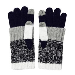 Wholesale Ipad Gloves Women - Winter Gloves Mittens Men and Women Stripes Wool Full Finger Mitts Touchable Screen Brand Gloves for Mobile Phone IPad
