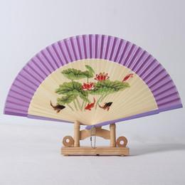Abanicos de colores online-Colored Drawing Spun Fan de Seda Mujeres Originalidad Proceso de Pintura Exquisito Fans Plegables de Bambú Del Banquete de Boda Regalos 5 5my ff