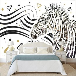 Wholesale black white vintage wallpaper - Modern Simple Abstract Art Wallpaper 3D Black And White Lines Zebra Mural Living Room Bedroom Background Fashion Wall Papers 3 D