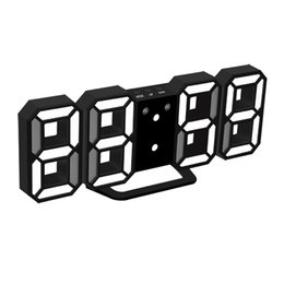 Wholesale Large Display Led Clock - Large Size LED Display Digital Clock Modern Design Home Office Electronic Desk Clock Wall 2 Colors