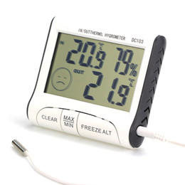 Wholesale temperature humidity display - Home Use DC103 LCD Digtal Display Thermometer Weather Station Humidity Temperature Hygrometer Outdoor Indoor Household AAA739
