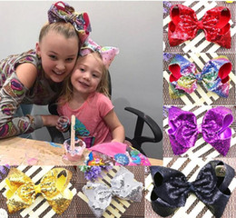 Wholesale Glitter Clips - DROP SHIPPING 8'' jojo sequin bows glitter embroidered boutique hair bow for girls teens Children kids toddlers Hair clips Accessories 12PCS