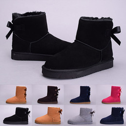 Wholesale Chestnut Snow Boots - (With Box) new Winter Bowtie WGG Women's Australia Classic kneel half Boots Ankle boots Black Grey chestnut navy blue red Women boots 36-41
