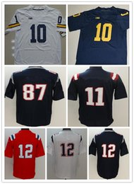 Wholesale Sports Shirt Women - Mens NCAA Best Quality any football jerseys tom sports edelman shirts kids women white brady red julian Michigan Wolverines with player name