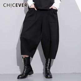 cintura grande negra Rebajas CHICEVER pantalones elásticos de cintura alta  de invierno negro para mujer pantalón 89e5598312a0