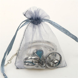 pastel de boda al por mayor juego de cuchillos Rebajas Bolso de regalo de organza con cordón de color gris plateado aretes anillo collar braceklets organizador saco de la joyería bolsa de embalaje de regalo