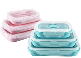 Wholesale Bento Tools Wholesale - Collapsible Silicone lunch Box Portable Food container bento boxes Dinnerware Food Bowls travel outdoor picnic tools