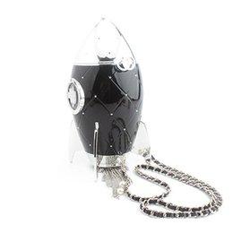 metallketten für handtaschen Rabatt Euchan Rocket Modelliertasche Lady Stilvolle Acryl Umhängetasche Frauen Schulter Mit Lange Kette Metall Quaste Handtaschen