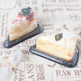 Décorations de boulangerie en Ligne-Récipient en tranches de gâteau en plastique clair 100pcs, boîte de cadeau de boulangerie, décoration de faveur de noce SSN-146