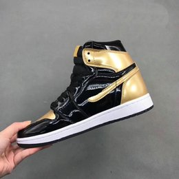 Wholesale Gold Toe - With Box 2017 Air 1 Gold Toe Shoes 1 High OG Barons Mens Basketball Sneakers 1s Sports Shoes Wholesale Drop Ship