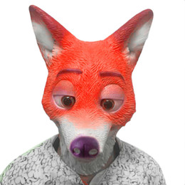 Wholesale Realistic Rubber Masks - Full Head Adult Mask Fox Head Mask Funny Nick Fox Latex Breathable Realistic Crazy Rubber Party Cosplay Halloween