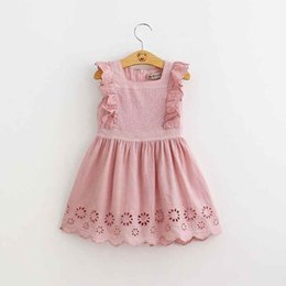 Wholesale little girl cute outfits - Summer Gilrs Clothes Dusty Rose Ruffle Sleeve Girls Dresses Hollow Out Cute Birthday Little Girls Outfit New Lace Dress