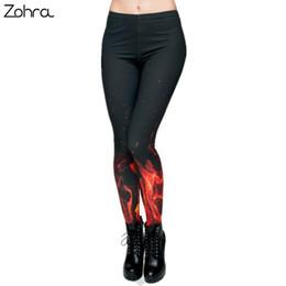 Estilo punk legging online-Zohra Marca Estilo ruso Llama de Fuego Leggings de Impresión Punk Mujeres Legging Pantalones Elásticos Pantalones Casuales Para Mujer Leggings