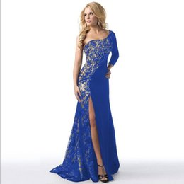 dcb72efa72 Honorable Royal Blue Women Floor Length Dress Sexy Off Shoulder Design Lace  Stitching Lady Open Dress Evening Party Club Vestido