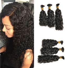 Wholesale Wavy Bulk Hair - Peruvian Water Wave Human Hair Bulk Natural Black Wavy Human Hair Extensions No Weft 100g pc FDshine