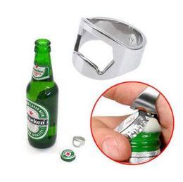 Wholesale Bar Beer Bottle Opener - Finger Thumb Ring Bottle Opener Bar Beer Tool Silver Stainless Beer Bottle Openers Creative Kitchen Bar Open Bottle Tool CCA9217 2000pcs
