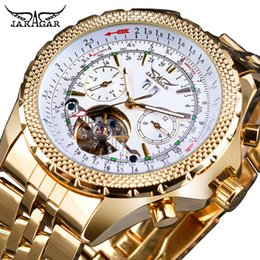 Relógios de aço inoxidável jaragar on-line-Jaragar Ouro Aço Inoxidável Tourbillion Design Calendário Display Mens Relógios Top Marca de Luxo Relógio De Pulso Mecânico Automático