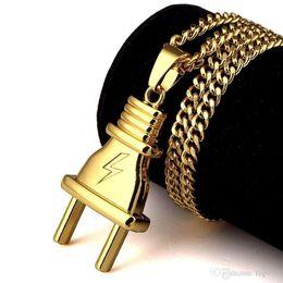 Wholesale Party Pack Plates - 2018 New Arrival Plug Pendant Necklace Pendants Hip Hop Gold Color For Men Women Packing Hip Hop Fashion Jewelry