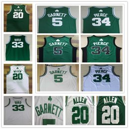 Wholesale embroidery basketball jersey - NCAA Vintage Men's basketball jerseys 5 Kevin Garnett Shirt 20 Ray Allen 34 Paul Pierce embroidery Jerseys 33 Larry Bird boston retro jersey