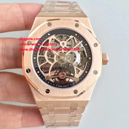 Wholesale Cal Watches - Luxury Top Quality Brand Watch JF Factory 44mm 15305ST.OO.1220ST.01 Skeleton Swiss CAL.3129 Mechanical Transparent Automatic Mens Watches