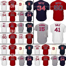 Wholesale Pedroia Jersey - Mens 34 15 Dustin Pedroia 16 Andrew Benintendi Jersey 50 Mookie Betts 9 Ted Williams Baseball Jerseys Embroidery Free Shipping