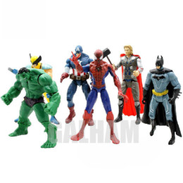 6PCS / Lot Avengers Figuras de acción Capitán América Spiderman Thor Hulk Bat Man X-Man Wolverine Super Heros bolso de opp 9-10 CM Super mujer ironman desde fabricantes