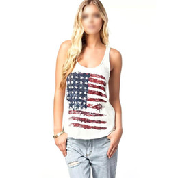 Wholesale Womens Sleeveless Tank Sexy Tops - Summer Sexy Womens T-Shirt White American Flag Vest Tank Tops Sleeveless Shirt Blouse Camisole Size S-XL
