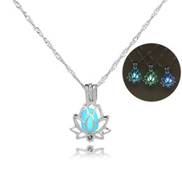 Wholesale Lotus Charm Wholesale - Trendy Silver Color Alloy Lotus Flower Luminous Glow In The Dark Crescent Pendant Necklace For Women Jewelry Gift 3 Colors 162656