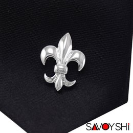 Wholesale Silver Plastic Brooches Wholesale - SAVOYSHI Classic Silver Lotus Shape Men Lapel Pin Brooches Pins Fine Gift for Mens Brooches Collar Party Engagement Jewelry