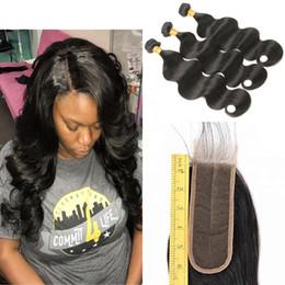 2019 vrais morceaux de cheveux Bundles brésiliens de cheveux vierges avec fermeture 100% de vrais cheveux humains péruviens malaisiens vierges malaisiennes 3 faisceaux avec 2x6 partie du milieu fermeture en dentelle promotion vrais morceaux de cheveux
