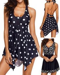 Wholesale Push Dress - Sexy Women Dress Swimsuit Two pieces High Waist Monokini Strappy Halter Dot Print Bathing Suit Push Up Beach Wear Plus Size M~3XL