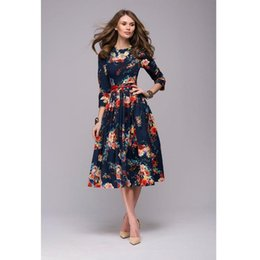 0db650e605f Women casual knee-length dress 2018 new arrival long sleeve printing summer  dress for offical lady Women loose vestidos
