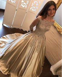 Wholesale Satin Wedding Dresses Long Sleeves - 2018 Beaded Pearls Ball Gown Wedding Dresses Bateau Neck Off Shoulder Long Sleeves Beaded Satin Formal Bridal Gowns Sweet 16 Dresses