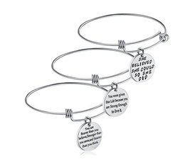 Wholesale Girl Christmas Ideas - Birthday Gifts for Women Girls Stainless Steel Inspirational Charm Bracelets Jewelry Motivational Expendable Bangles Anniversary Gift Ideas