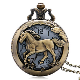 2018 Pocket Watch Retro Bronze Copper Horse Hollow Quartz Watch Clock Hour Fob 12 Zodiac Chain Pendant Birthday Souvenir Gifts for Men Women