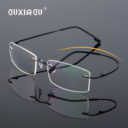 a8d0fa59829d Lightweight Rimless Glasses Frame Memory Titanium Eyeglasses Women Men  square Myopia Optical Glasses Frames Oculos De Grau s858