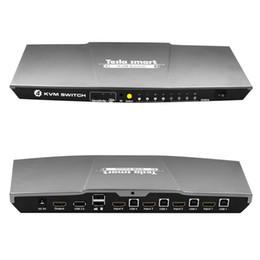 Computadoras grises online-Tesla smart Grey HDMI KVM Switch 4 puertos USB KVM HDMI Switch Soporte 3840 * 2160 / 4K * 2K IR Extra USB 2.0 Muchos mouse de computadoraKeyKeyboard