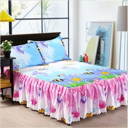 Wholesale Light Pink Full Size Bedding - Wholesale-undersea world 100% Cotton bed skirt Bed sheet Bedspread bed skirt Home textile bedding size 120*200 150*200 180*200 200*220